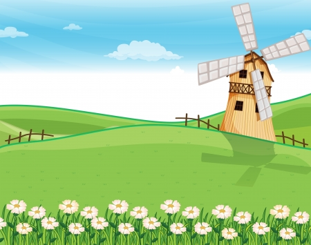 farm home: Illustration of a farmhouse above the hills with a windmill Illustration