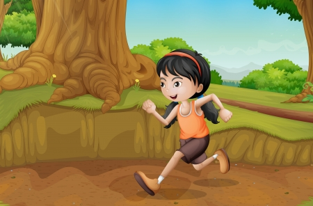 Illustration of a kid running at the forest Stock Vector - 21658827
