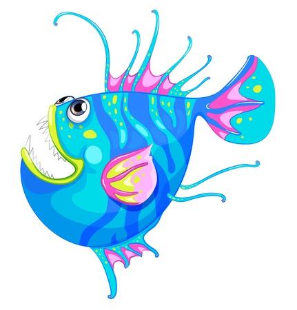 bunter fisch: Illustration von einem bunten Fischen mit einem gro�en Mund auf wei�em Hintergrund