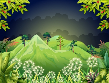 nightime: Illustration of the high mountains at the dark forest