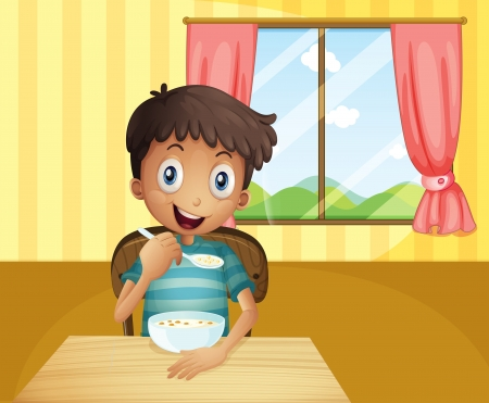 bowl of cereal: Illustration of a boy eating cereals inside the house