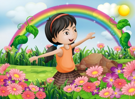 arc: Illustration of a happy girl at the garden with fresh blooming flowers