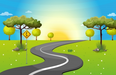 Illustration of a long and winding road at the forest Vector