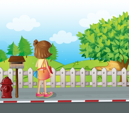 Illustration of a girl standing near the mailbox at the roadside Vector