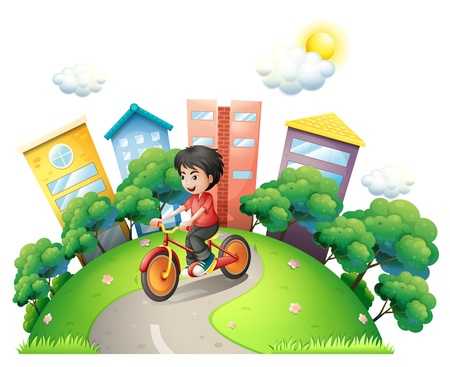 Illustration of a boy biking at the road going to the high buildings Vector