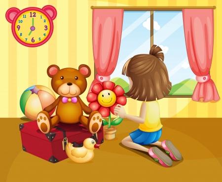 arranging: Illustration of a child arranging her toys inside the house Illustration