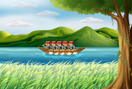 riverside tree: Illustration of a group of boys riding on a boat