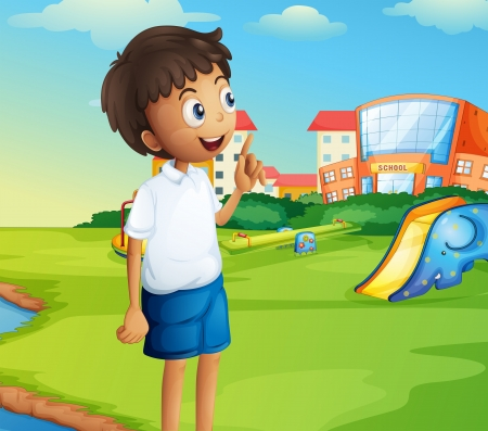 school playground: Illustration of a boy at the school playground Illustration