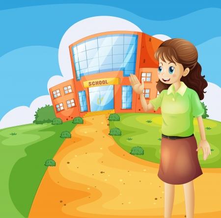 school girl uniform: Illustrazione di un insegnante di fronte l'edificio scolastico