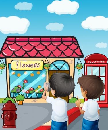Illustratie van de twee jongens die foto's nemen in de buurt van de bloemenwinkel