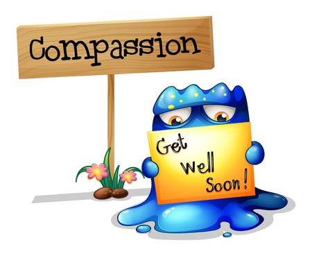 compassionate: Illustration of a compassionate monster holding a signage on a white background