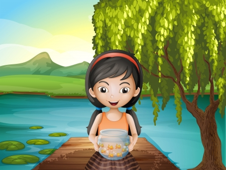 Illustration of a girl with an aquarium standing at the riverbank