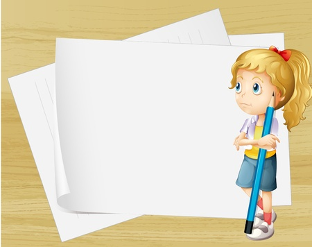 Illustration of a sad girl with a pencil standing in front of the empty papers Vector