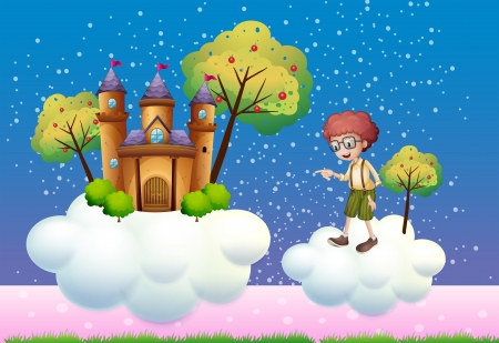 Illustration of the clouds with a boy and a castle Vector