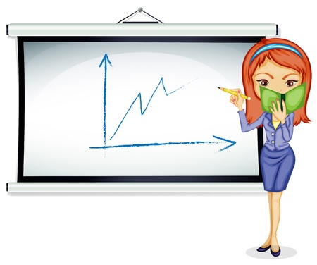 executive board: Illustration of a young lady explaining a chart on a white background