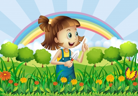 Illustration of a young girl gardening Vector