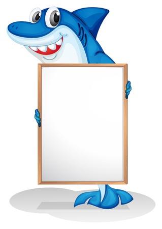 whiteboard: Illustratie van een lachende haai die een lege whiteboard op een witte achtergrond Stock Illustratie