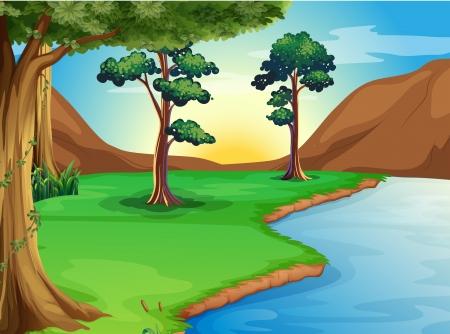 Ilustración de un río en el bosque Ilustración de vector