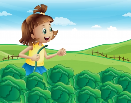 Illustration of a young girl watering her plants at the garden Vector