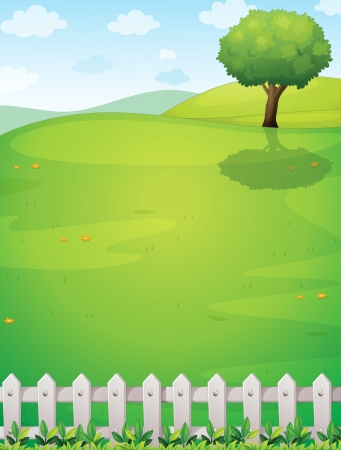 Illustration of a giant tree at the hilltop Stock Vector - 21658871