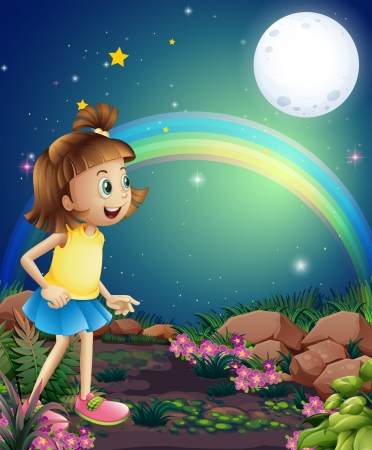 midnight: Illustration of a kid amazed by the sight of the rainbow and the fullmoon