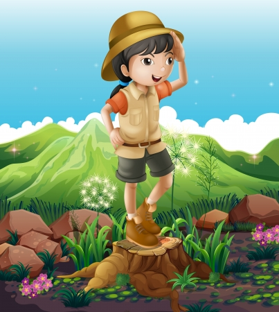 timber cutting: Illustration of a girl standing above the stump across the mountains
