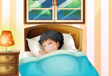 child bedroom: Illustration of a boy sleeping soundly in his room