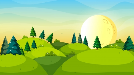 Illustration of the pine trees above the hills Vector