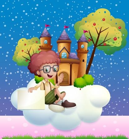 Illustratie van een jongen zitten op de wolk die een leeg bord