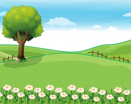 Illustration of a hilltop with a garden and a giant tree Vector
