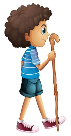 Illustration of a young boy hiking on a white background Vector