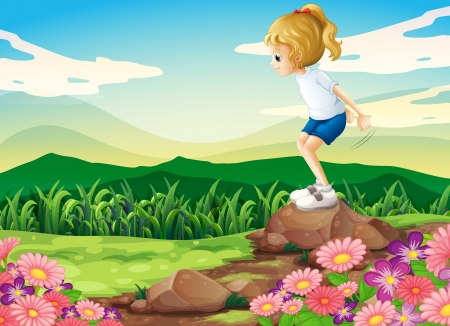 Illustration of a young girl playing at the hilltop with rocks and a garden Vector