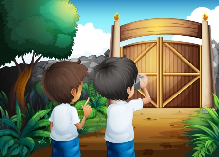 Illustration of the boys taking pictures inside the gated yard Vector