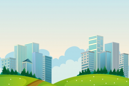 Illustration of the tall buildings near the hills Vector