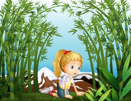 petite fille triste: Illustration d'une jeune fille triste à la forêt de bambous Illustration