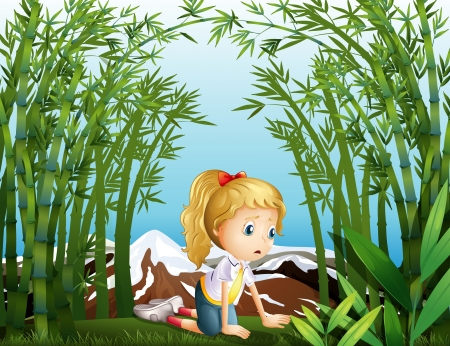 Illustration of a sad girl at the bamboo forest Stock Vector - 21658902