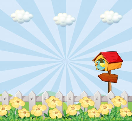 Illustration of a bird at the birdhouse near the wooden fence Vector