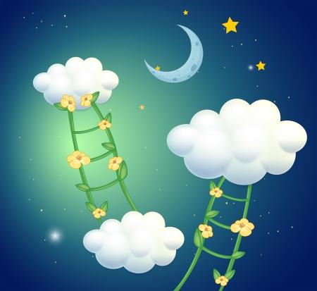 nubes caricatura: Ilustración de las escaleras verdes con flores va a las nubes