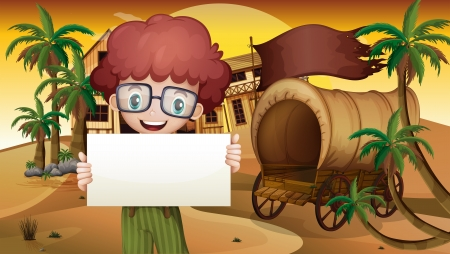 menu land: Illustration of a boy near the wagon holding an empty signboard