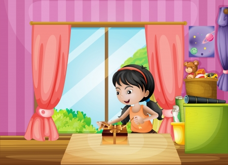 tied girl: Illustration of a young girl unwrapping a present inside the house