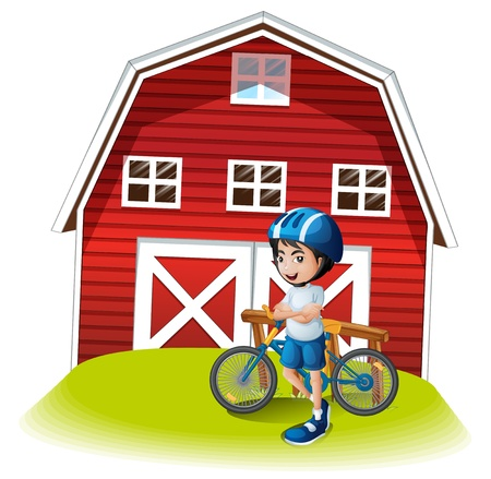 farm land: Illustration of a boy with a bike standing in front of the farmhouse on a white background