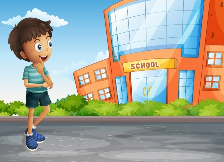 college campus: Illustration of a young boy at the street across the school building Illustration