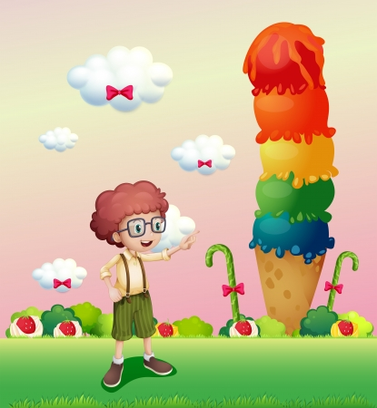 Illustration of a young gentleman standing near the giant icecream Vector