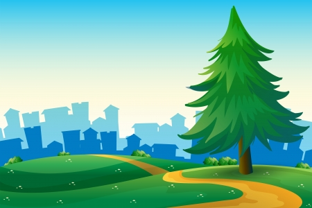 Illustration of the hills with a big pine tree near the tall buildings Stock Vector - 21658913