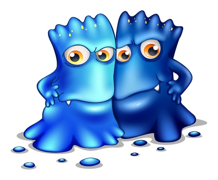 Illustration of the two monsters on a white background Vector