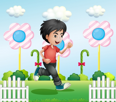 Illustration of a young gentleman running Vector