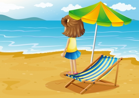 foldable: Illustration of a girl at the beach with a foldable chair and an umbrella