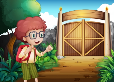 gated: Illustration of a boy with a red backpack inside the gated yard