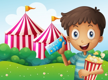 Illustration of a boy holding a ticket and a pail of popcorn Illustration