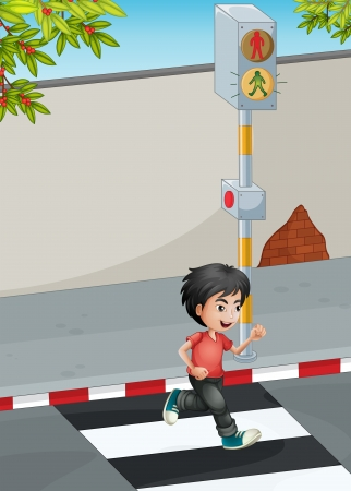 the crossing: Illustration of a boy running while crossing the street Illustration